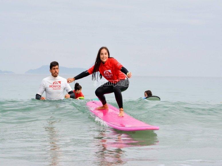 Practising surfing