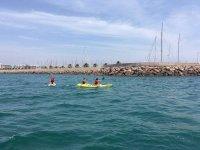 Kayak con el equipo de sup