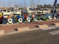 Esperando la salida en el Puerto de Badalona