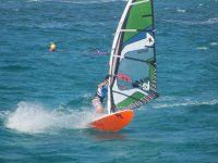 On the waves on windsurfing board