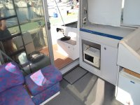 Inside kitchen of the boat