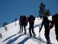 Raquetas de nieve en grupo