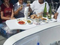Enjoying appetizers on board