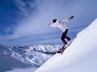 下降在滑雪板