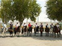 Grupo con caballos engalanados