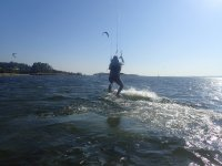 Rising on the kite board