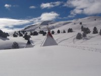 Tipis in the snow