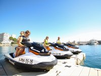 Preparing on the jet skis in the mallorquin port