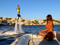 Viewing flyboard from the boat