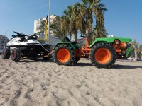 Transportando la moto de agua hasta el Mediterraneo