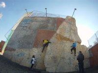 Testing the climb on the rocodron