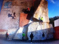 Climbers in the wall of the rocodromo