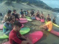 Surf talk on the beach