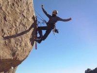 climbing on rock