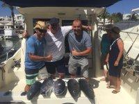 Albacoras tras el dia de pesca