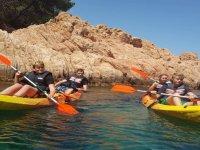 Kids on kayaks Costa Brava