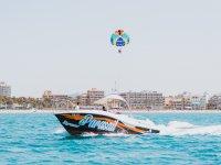 Parasailing flight in the Mediterranean