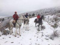乔罗骑马在雪地骑马