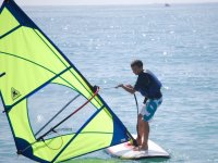 With the windsurfing sail