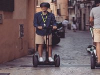 Walking through the streets in segway