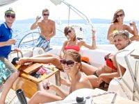 Friends enjoying Sailing in Barceloneta