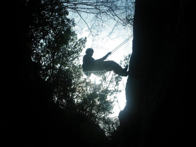 Abseiling with rope