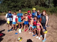 Family kayaking with children