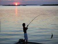pescando en el atardecer