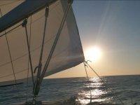 Vela del barco a contraluz
