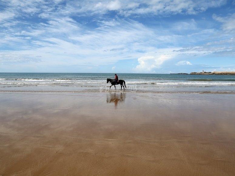Cabalgando por la arena de la playa