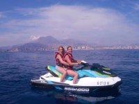 Girls jet skiing