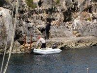迷人的风景准备迎接渔船在海上航行了一天
