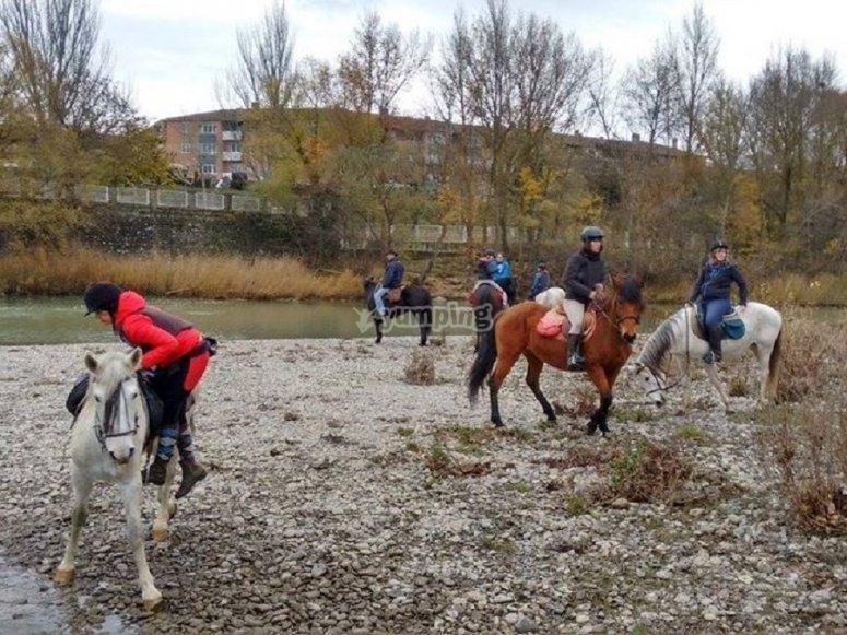 Comenzando la sesion a caballo