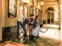 Tourists posing in the Liceu