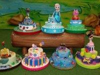 Variety of birthday cakes