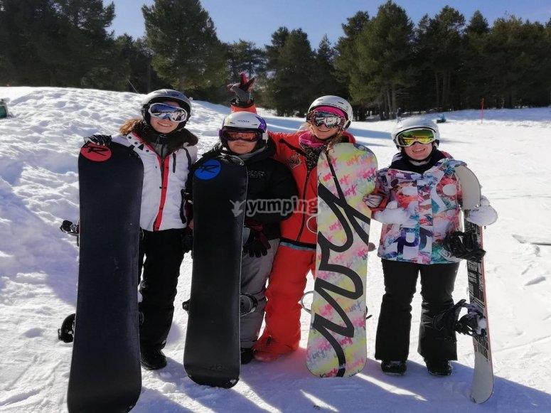 Clase de snow para grupos en La Molina