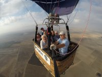 In the balloon with a group of girls
