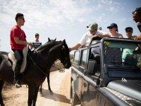 Saludando al caballo desde el jeep