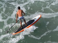 Paddle surfing on the waves