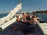 航行的一天,在救生艇甲板在赫罗纳