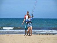 Tomando lecciones en la playa