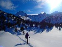 Con gli sci nel traccia