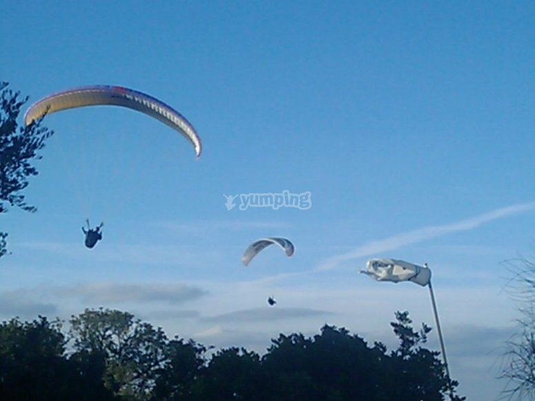 Several Andalusian paragliders