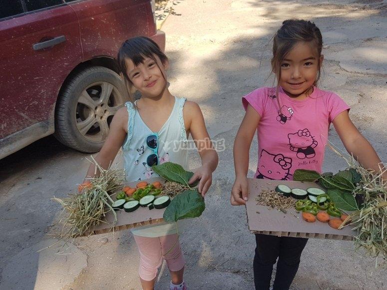 Cortando verduras