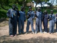 Protected with paintball masks