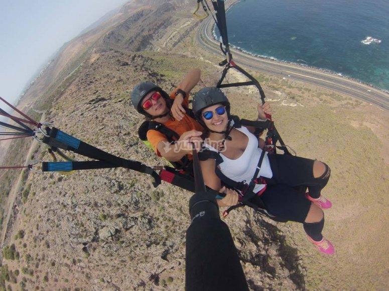 Probando el parapente en Canarias